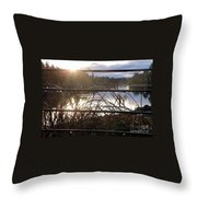 Raindrops To River Sunrise Throw Pillow