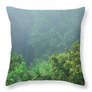 Rainforest And Lower Puohokamoa Falls Maui Hawaii Throw Pillow