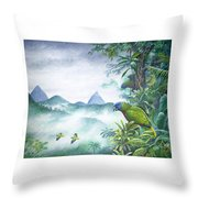 Rainforest Realm - St. Lucia Parrots Throw Pillow