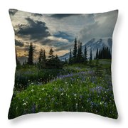 Rainier Abundance Of Flowers Throw Pillow
