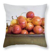 Rainier Cherries And Ceramic Bowl Throw Pillow