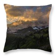 Rainier Evening Skies Drama Throw Pillow