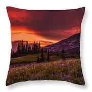 Rainier Fire Mountain Panorama Throw Pillow