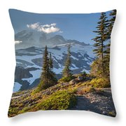 Rainier From Paradise Glacier Throw Pillow