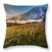 Rainier Golden Sunlit Meadows Throw Pillow