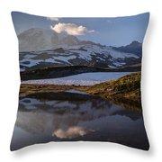 Rainier Reflected In A Glacial Tarn Throw Pillow