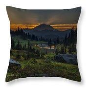 Rainier Sunset Basin Throw Pillow