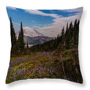Rainier Tipsoo Wildflowers Throw Pillow