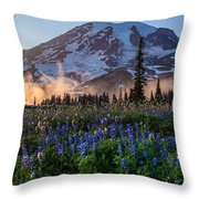 Rainier Wildflower Meadows Pano Throw Pillow