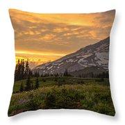 Rainier Wildflowers Meadow Sunset Throw Pillow
