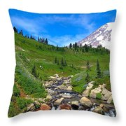 Rainier's Meadows Throw Pillow