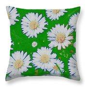 Raining White Flower Power Throw Pillow
