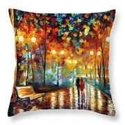 Rain's Rustle 2 - Palette Knife Oil Painting On Canvas By Leonid Afremov Throw Pillow