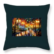 Rain's Rustle - Palette Knife Oil Painting On Canvas By Leonid Afremov Throw Pillow