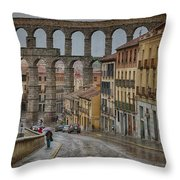 Rainy Afternoon In Segovia Throw Pillow