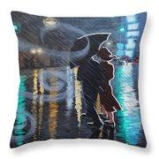 Rainy City Street Throw Pillow