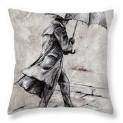 Rainy Day #07 Drawing Throw Pillow by Emerico Imre Toth
