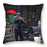 Rainy Day Blues New Orleans Throw Pillow
