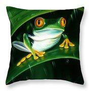 Rainy Day Frog Throw Pillow