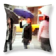 Rainy Day In The City - Blue Pink And Polka Dots Throw Pillow