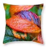 Rainy Day Leaves Throw Pillow