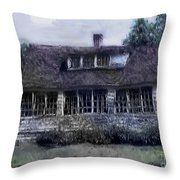 Rainy Day Long Ago House Throw Pillow