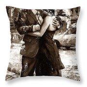 Rainy Day - Love In The Rain 2 Sepia Throw Pillow