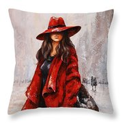 Rainy Day - Red And Black #2 Throw Pillow