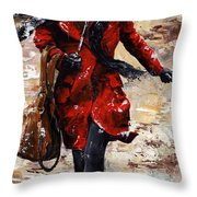 Rainy Day - Woman Of New York 10 Throw Pillow