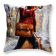 Rainy Day - Woman Of New York 17 Throw Pillow