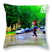 Rainy Days And Mondays Girl Running With The Blue Umbrella Montreal Art City Scenes Carole Spandau Throw Pillow