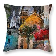 Rainy Evening In Montmartre Throw Pillow
