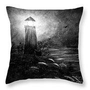Rainy Night At The Lighthouse Throw Pillow
