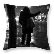 Rainy Night - Hailing A Cab Throw Pillow