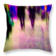Rainy Night In The City Downtown Evening Stroll Through The Puddles Montreal Art Carole Spandau Throw Pillow