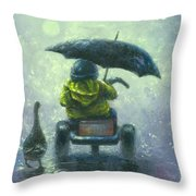 Rainy Ride Throw Pillow
