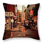 Rainy Street - New York City Throw Pillow by Vivienne Gucwa