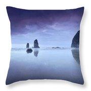 Rainy Sunset Over Cannon Beach Throw Pillow
