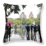 Rainy Washington Park  Throw Pillow