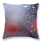 Rainy Windshield Brake Lights Throw Pillow