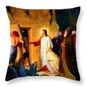 Raising Of Lazarus Throw Pillow