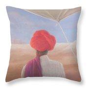 Rajasthan Farmer, 2012 Acrylic On Canvas Throw Pillow