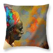 Rajasthani Farmer Rural Indian Turban Throw Pillow
