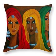 Rajasthani Women Throw Pillow