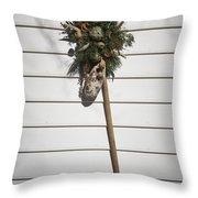 Rake And Wreath Throw Pillow
