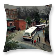 Raleigh Bus Terminal - Evening Throw Pillow by Paulette B Wright