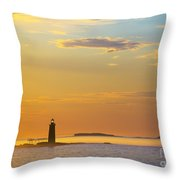 Ram Island Lighthouse Casco Bay Maine Throw Pillow