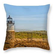 Ram Island Lighthouse Throw Pillow by Karol Livote