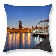 Rambla De Mar Promenade In Barcelona At Night Throw Pillow