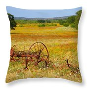 Ranch And Wildflowers And Old Implement 2am-110547 Throw Pillow